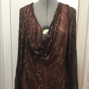 Scala Sheer Beaded Brown Drape Top Over Coral Silk